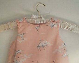 Baby dress pale pink, 6 months-2 years, evolutionary, flowing silky cotton, crane bird