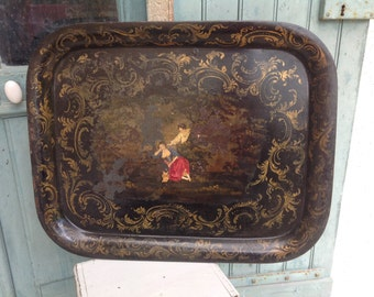 Tole work tray - Beautiful antique French tole peinte - tole work - tray - Napoleon III of very large proportions