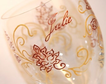 Autumn Fall Leaves Wine Glass, Personalized, Painted, Thanksgiving, November, Copper, Gold