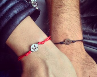 Initial Bracelet, Personalized Jewelry, Red Thread Bracelet, Letter Bracelet, Letter Charm Bracelet, Engraved Bracelet, Charm Letter Jewelry