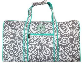 Monogrammed 21 inch Parker Paisley Duffle Bag Womens | Girls | Personalized | Weekender | Dance | Cheerleader | Travel | Overnight Duffel