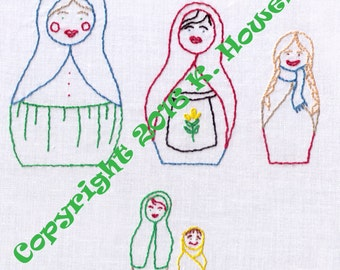 Dolls Hand Embroidery Pattern, Russian Nesting Dolls, Russian, Nesting, Dolls, Ukranian, Toys, PDF