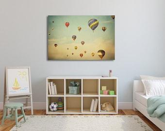 "Hot Air Balloons Nursery Decor, Canvas Nursery Art, Boys Room Decor, Girls Room Decor, Pastel Home Decor, ""Floating in Space"""