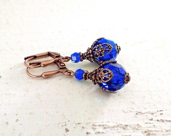 Majestic Blue and Copper Lever Back Earrings with Swarovski Crystals and Antiqued Copper Ox Filigree