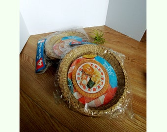 Vintage Wicker Paper Plate Holder - 2 Sets of 4 Brand New Unopened Packages