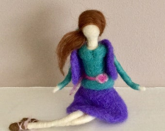 Waldorf Inspired Doll  Needle Felted Doll   Art Doll   Wool Felted Doll   Needle Felted Figure  Waldorf Inspired Figure