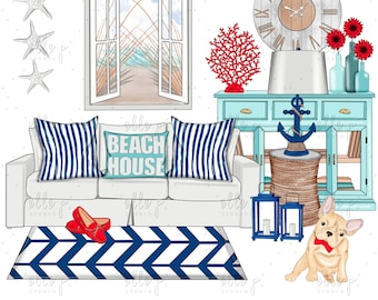 Beach House Clipart Bundle /Planner Clipart Bundle / Summer Themed Clipart