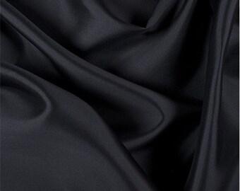 Black Silk/Wool Gab, Fabric By The Yard