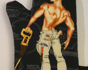Oven Mitt - Sexy Dennis, Construction Worker - White Elephant Gift Novelty Christmas Gay Bride Bridesmaid Housewarming Hostess Barbecue