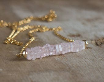 Rose Quartz Necklace, Gemstone Necklace, Rose Quartz Jewelry, Gemstone Bar Necklace, Healing Crystal Necklace, Heart Chakra, Gift for Her
