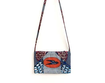 Reversible Bag, African Purse, Small Crossbody Bag, Bird Print Bag, African Bag, African Purses for Women, One of a Kind Bag, Unique Bags