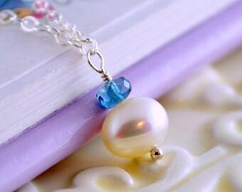 London Blue Topaz Necklace, Teal Gemstone, December Birthstone, Child Children Girl, Sterling Silver, Freshwater Pearl Jewelry