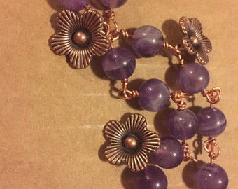 Amethyst & Copper Flower Bracelet