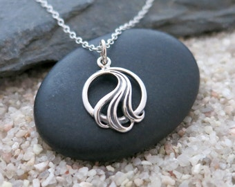 Silver Wave Necklace, Sterling Silver Wave Charm, Ocean Jewelry