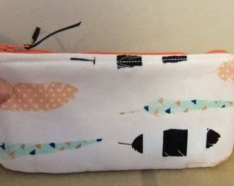 Zip Pouch-Pencil pouch- Cosmetics pouch- made by me using melon peach blush polka dot and modern feather print fabric