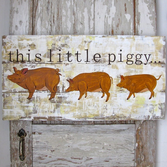 pig painting on reclaimed rustic solid wood this little piggy