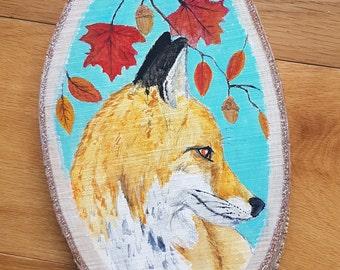 wood slice fox painting