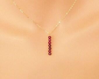 Garnet Necklace, Natural Garnet, Garnet Pendant, Gemstone Necklace, Dainty Necklace, Delicate Necklace, Layering Necklace