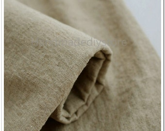 Cotton Twill Fabric, Natural Washed Cotton Linen Twill, Unbleached Medium Weight Flax Decor Fabric in Twill Weave (JJ25)