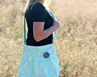 Diaper Bag, Arrow Mint Aqua Crossbody, Custom Diaper bag, Cute Messenger Style Arrow Print Bag, Diaper Bag for New Mother, Cute Arrow Bag