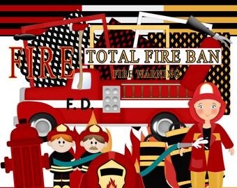 Fire fighter scrapbook, Fireman Scrapbook, Fire engine scrapbook, Instant download, Hero Scrapbook, Digital Scrapbook