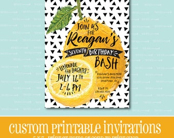 Lemonade Birthday Invitation, Printable Invitation, BIRTHDAY PARTY INVITATION,Lemonade,Digital,Customizable,Birthday,Birthday Party,Lemon