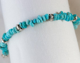 turquoise silver beaded bracelet turquoise bracelets turquoise jewelry blue bracelets December birthstone gifts for her handmade jewelry