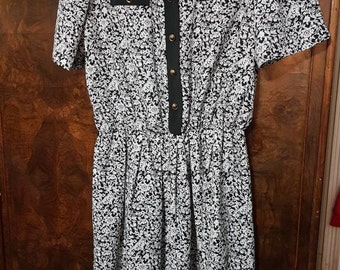 Vintage flower dress black and white made by Crown Design