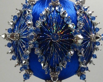 Diamond Radiance, Blue  - A Finished Hand Made Beaded Satin Ornament With Crystals