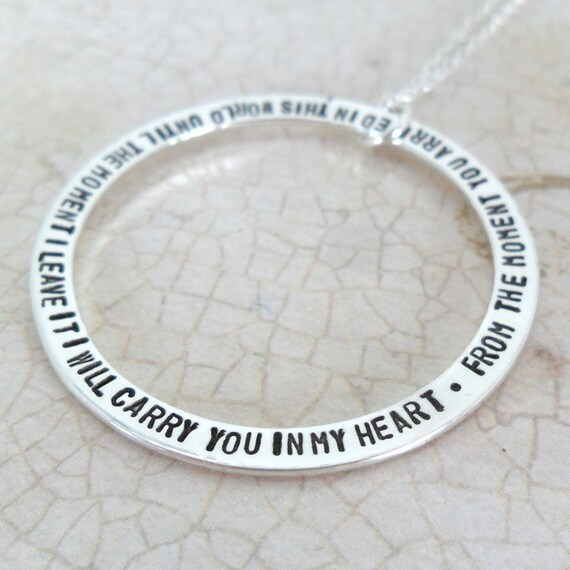 Custom Quotation Necklace - Personalized Jewelry - Quote Jewelry - Thin Washer - Large Washer - Sterling Silver - Hand Stamped