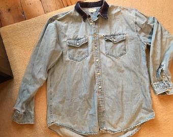 Distressed J Crew jean denim shirt size XL