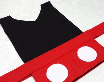 Adult Mickey Mouse Costume Tunic (Mouseketeer / Clubhouse / Disney) - Baby / Toddler / Kids / Teen / Adult Sizes & Mickey Mouse Costume Tunic Mouseketeer / Clubhouse / Disney