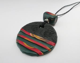 Necklace with polymer clay pendant