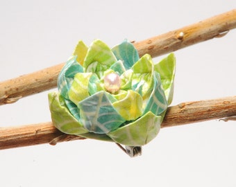 """Blue and green pastel """"Ripples"""" origami lotus flower brooch"""