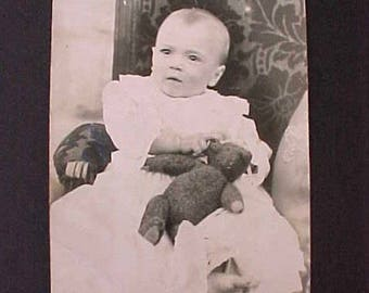 Sweet Photograph Postcard-Edwardian Baby with Teddy Bear