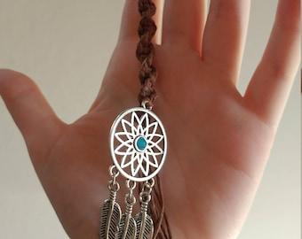 Hemp key chain with dream catcher pendant