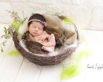 Twig nest, Wood Nest, Owl Nest, Bird Nest, Newborn Photography, Photo Prop, Basket, Newborn Nest, Newborn Prop, Newborn Basket,vintage