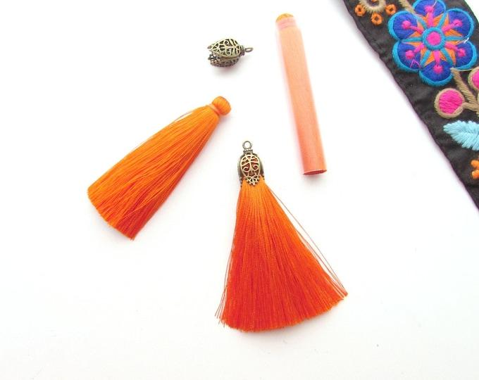 2 Long Jewellery tassels 7 cm Orange  Long silky orange tassels for tasel earrings 1 Pair of jewelry tassels with protective tubes