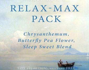 RELAX-MAX Pack: Chrysanthemum, Butterfly Pea Flower, Sleep Sweet Blend