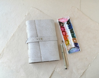 Rustic White Leather Journal with Watercolor Paper
