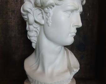 Vintage French David Michelangelo White Plaster Reproduction Bust Head Ornament circa 1950's / English Shop