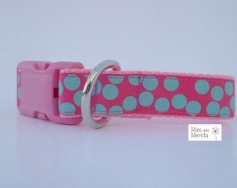 Dog Collar, aqua teal tropic polka dots on raspberry pink,  adjustable dog collar, pet gift, pet accessory