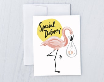 Flamingo Stork Greeting Card
