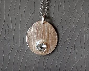 Silver Textured Aquamarine Pendant