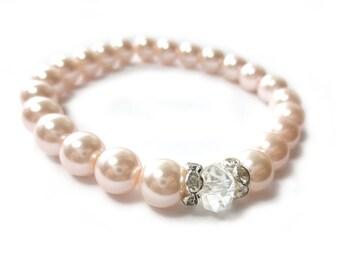 Blush Pink Glass Pearl Stretch Bracelet
