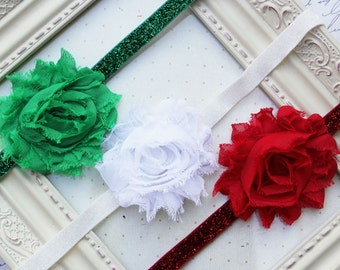 Christmas Set of 3 Chiffon flower headbands, baby headbands, newborn headbands, adult headbands, christmas headbands, photography prop
