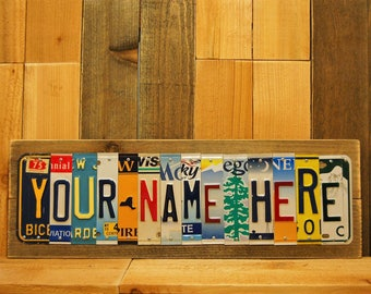 Custom License Plate Name Sign for Anniversary, Wedding, Husband, Child, Son, Daughter, Bedroom Decor Last Minute OK!!!