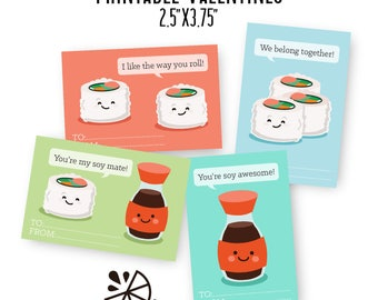Sushi and Soy Sauce Valentine Card Kids Printable INSTANT DOWNLOAD PDF