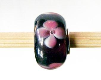 European Charm Bracelet 925 Sterling Silver Cherry Blossom Murano Glass Bead F362