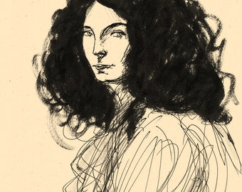 Female portrait (after Klimt), original drawing